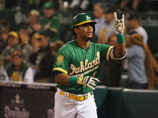 Khris Davis hit 48 home runs for the Oakland A's this season.
