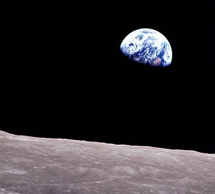 This iconic image called Earthrise was taken aboard Apollo 8 by Bill Anders.