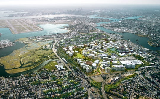 An artist's rendering of a possible site for Amazon's second headquarters in Boston's Suffolk Downs area. This comes from the HYM Investment Group, LLC