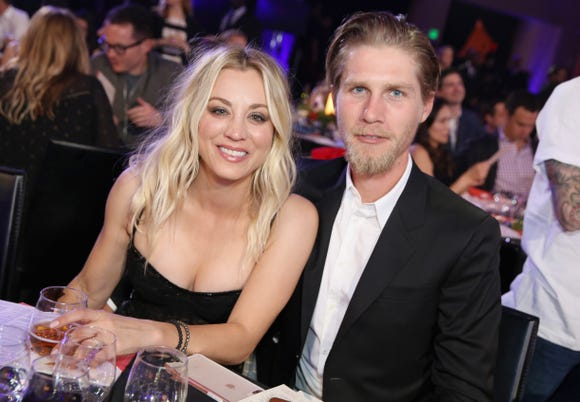 Kaley Cuoco is celebrating three months of marriage to Karl Cook with a sweet Instagram post. Here, the couple attend Seth Rogen's Hilarity For Charity on March 24, 2018 in Los Angeles, California.