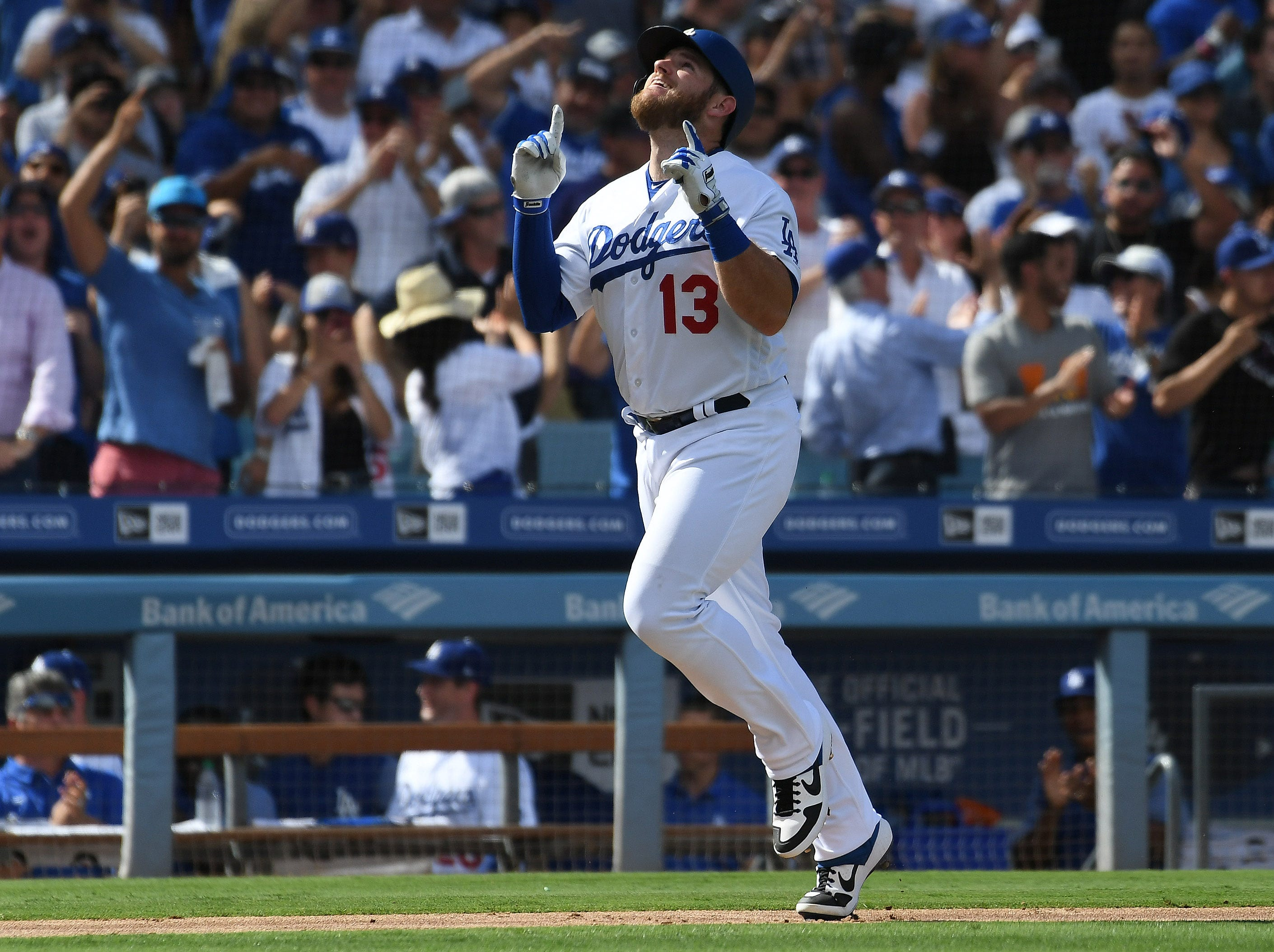 Dodgers first baseman Max Muncy reacts after hitting a two-run homer in the fifth inning.