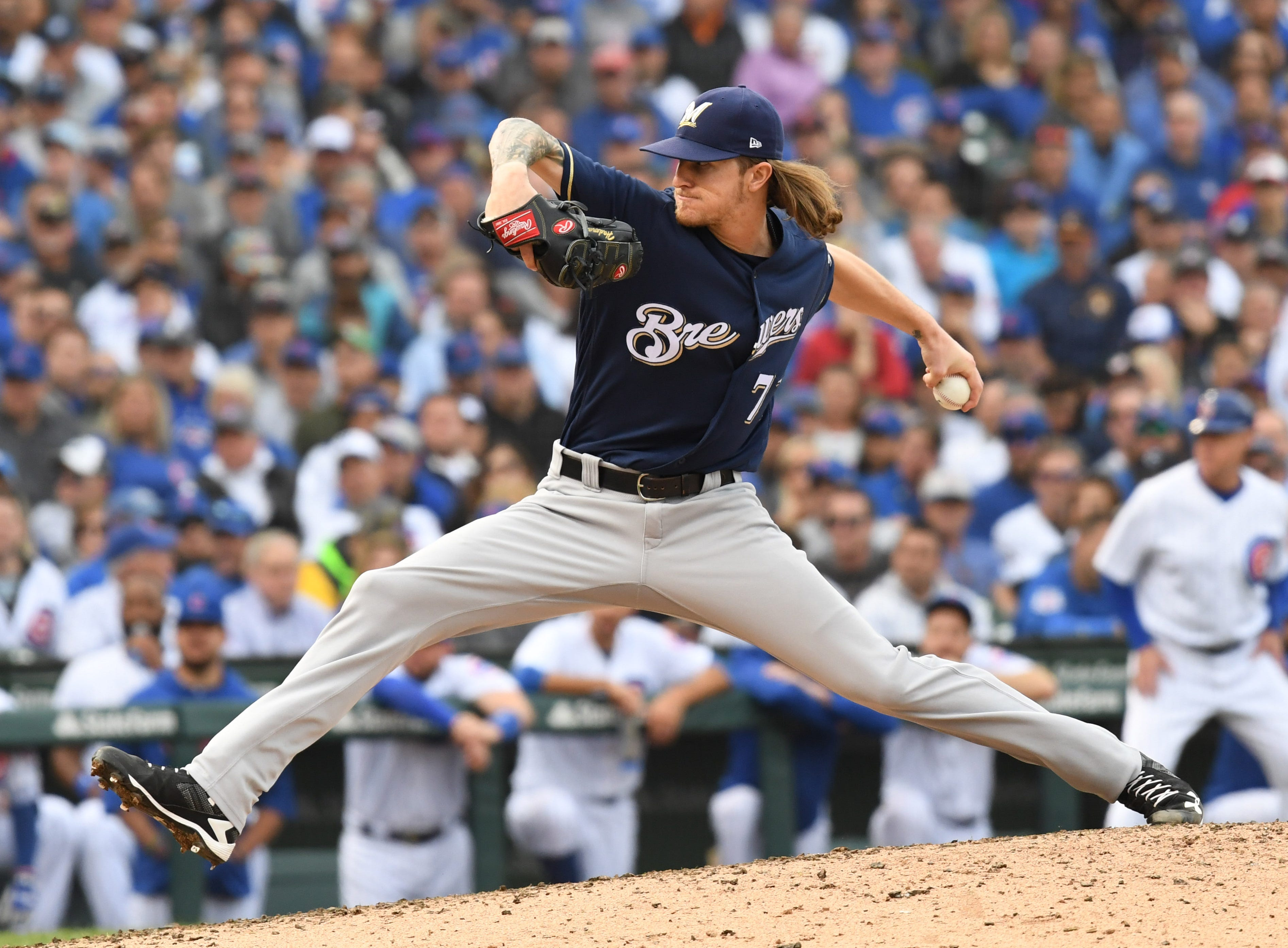 Brewers reliever Josh Hader throws a pitch in the eighth.
