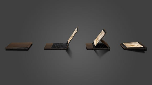 HP Spectre Folio folded into four positions