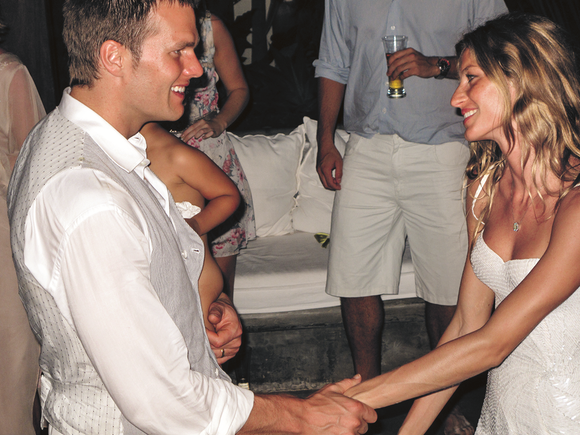 Gisele Bündchen and Tom Brady at their  wedding reception in 2009.