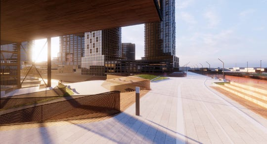 An artist's rendering of a possible site for Amazon's second headquarters in Chicago's Lincoln Yards. This comes from the architecture firm of Skidmore, Owings & Merrill.