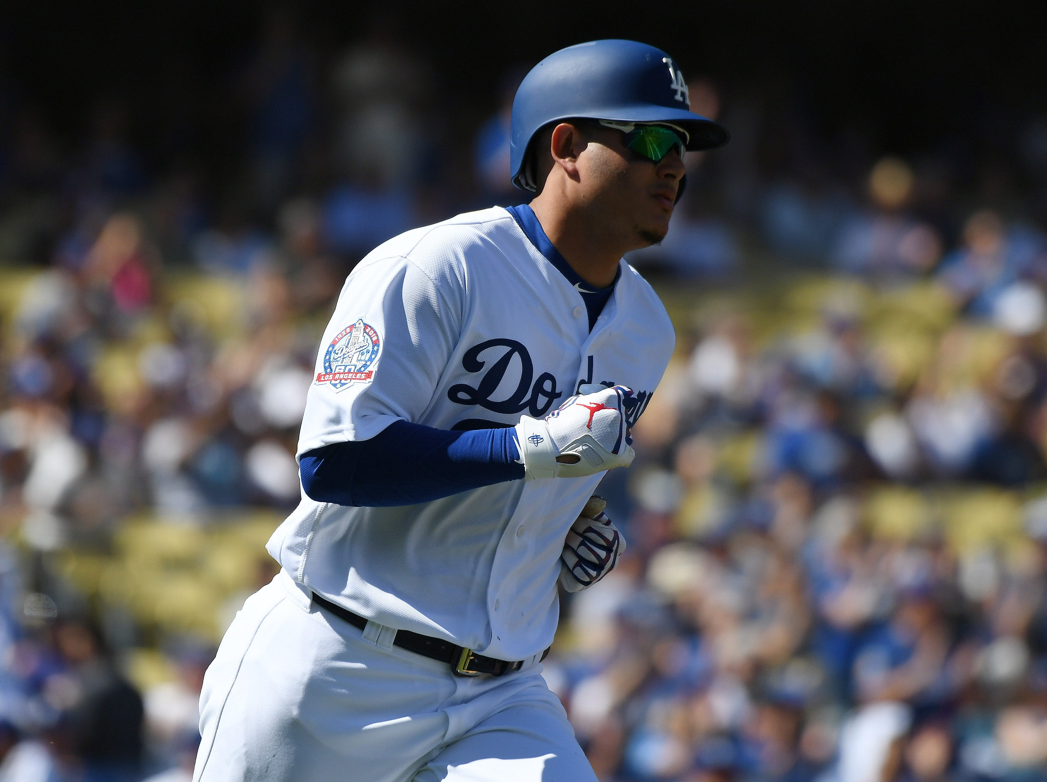 Dodgers shortstop Manny Machado singles in the second inning.
