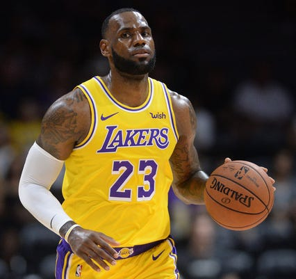 55be4d5c6ba Usp Nba Preseason Denver Nuggets At Los Angeles L S Bkn Lal Den Usa Ca. LeBron  James ...