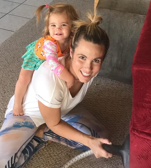 Amy Weatherly and her youngest child.