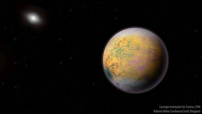 """An artist's conception of distant """"Planet X,"""" which could be shaping the orbits of smaller extremely distant objects."""