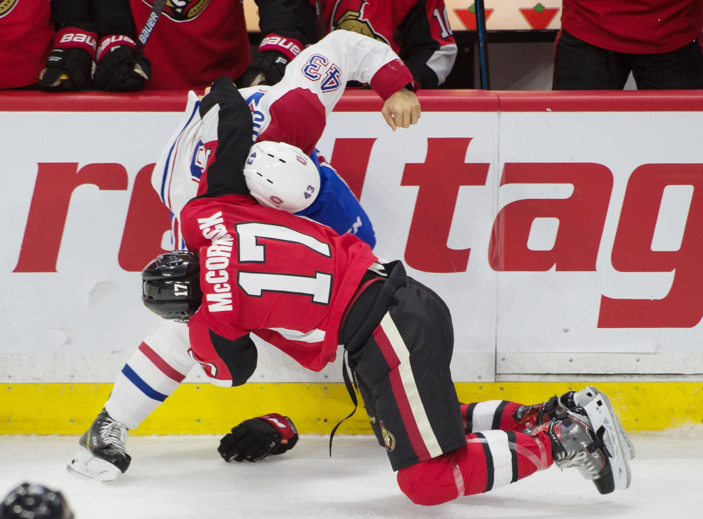 Sept. 29: Montreal Canadiens center Michael Chaput fights with Ottawa Senators left wing Max McCormick.