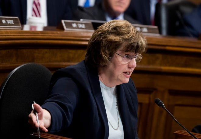 Rachel Mitchell, counsel for Senate Judiciary Committee Republicans, questions Dr. Christine Blasey Ford last Thursday during a committee hearing on the nomination of Brett Kavanaugh to be an associate justice of the Supreme Court.