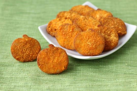 Cheddar cheese pumpkin pita chips add some savory to your Halloween menu.