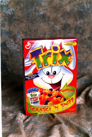 A box of fruit-shaped Trix cereal in 1996.