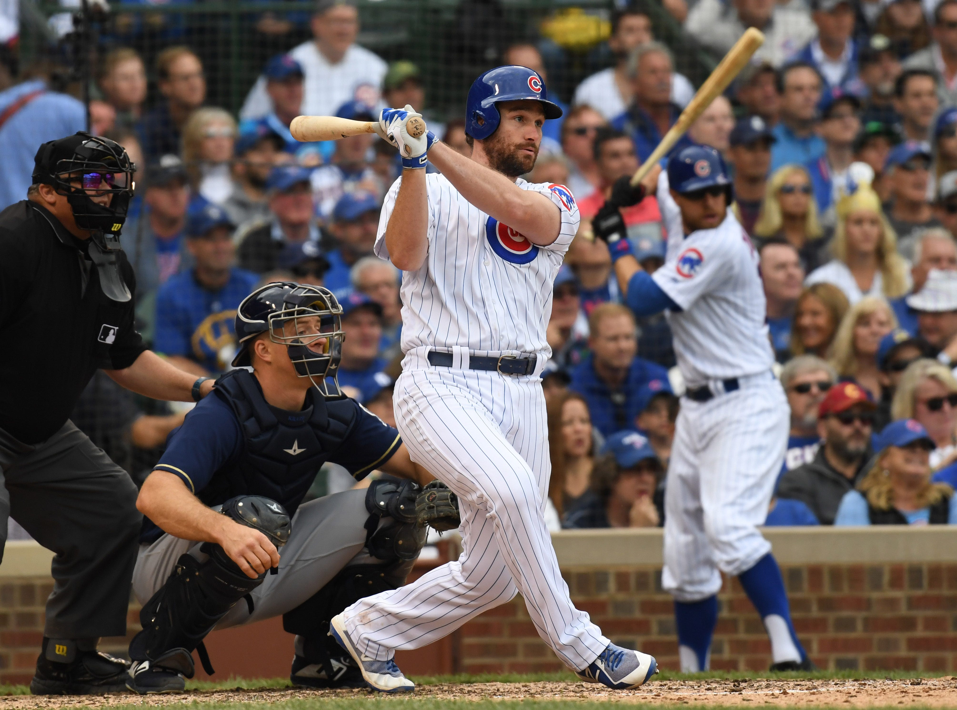 Cubs second baseman Daniel Murphy singles during the sixth inning.