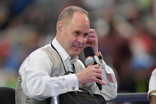 Ernie Johnson at the Final Four in 2017.