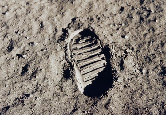 This July 20, 1969 file photo shows one of the first steps taken on the Moon, of Buzz Aldrin's bootprint from the Apollo 11 mission. On July 16, 1969, NASA astronauts Neil Armstrong, Buzz Aldrin and Michael Collins launched toward the moon atop a Saturn V rocket. Four days later, on July 20, Armstrong and Aldrin landed their Eagle lander at Tranquility Base on the moon as Collins remained in orbit aboard the command module.