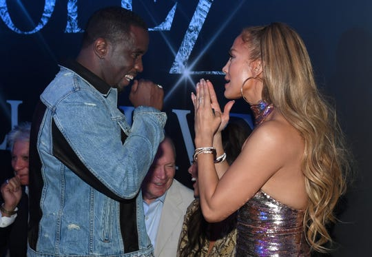 "Sean ""Diddy"" Combs and Jennifer Lopez were all smiles at the party after the final show for Lopez's residency, All I Have."