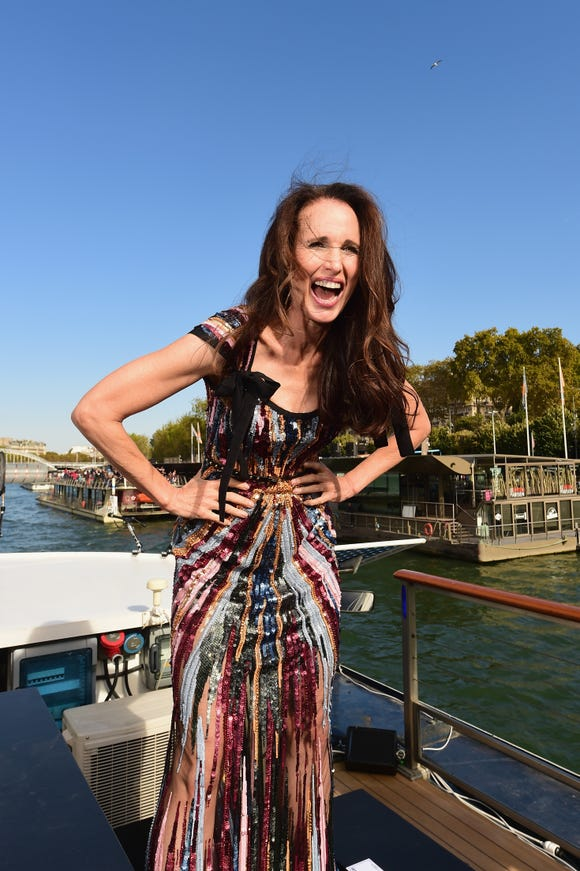 c96be9e382 Andie MacDowell returns to the catwalk at 60 for Paris fashion show