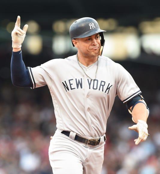 061b03ed9 Usp Mlb New York Yankees At Boston Red Sox S Bba Bos Nyy Usa Ma. Giancarlo  Stanton tips his ...