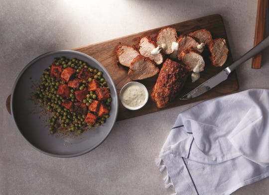 Tender pork accompanied by a sweet potato pea medley makes for a delicious meal and easy cleanup.
