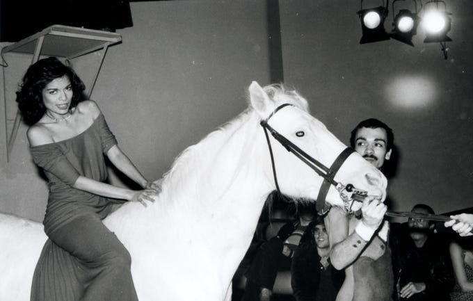 378283 01: 5/2/77 New York, NY. Bianca Jagger on a white horse at Studio 54 celebrating her birthday.(Photo by Robin Platzer/Twin Images/ & Online USA)