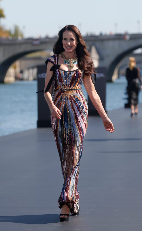 d1c4cdd3a9dd Andie MacDowell returns to the catwalk at 60 for Paris fashion show