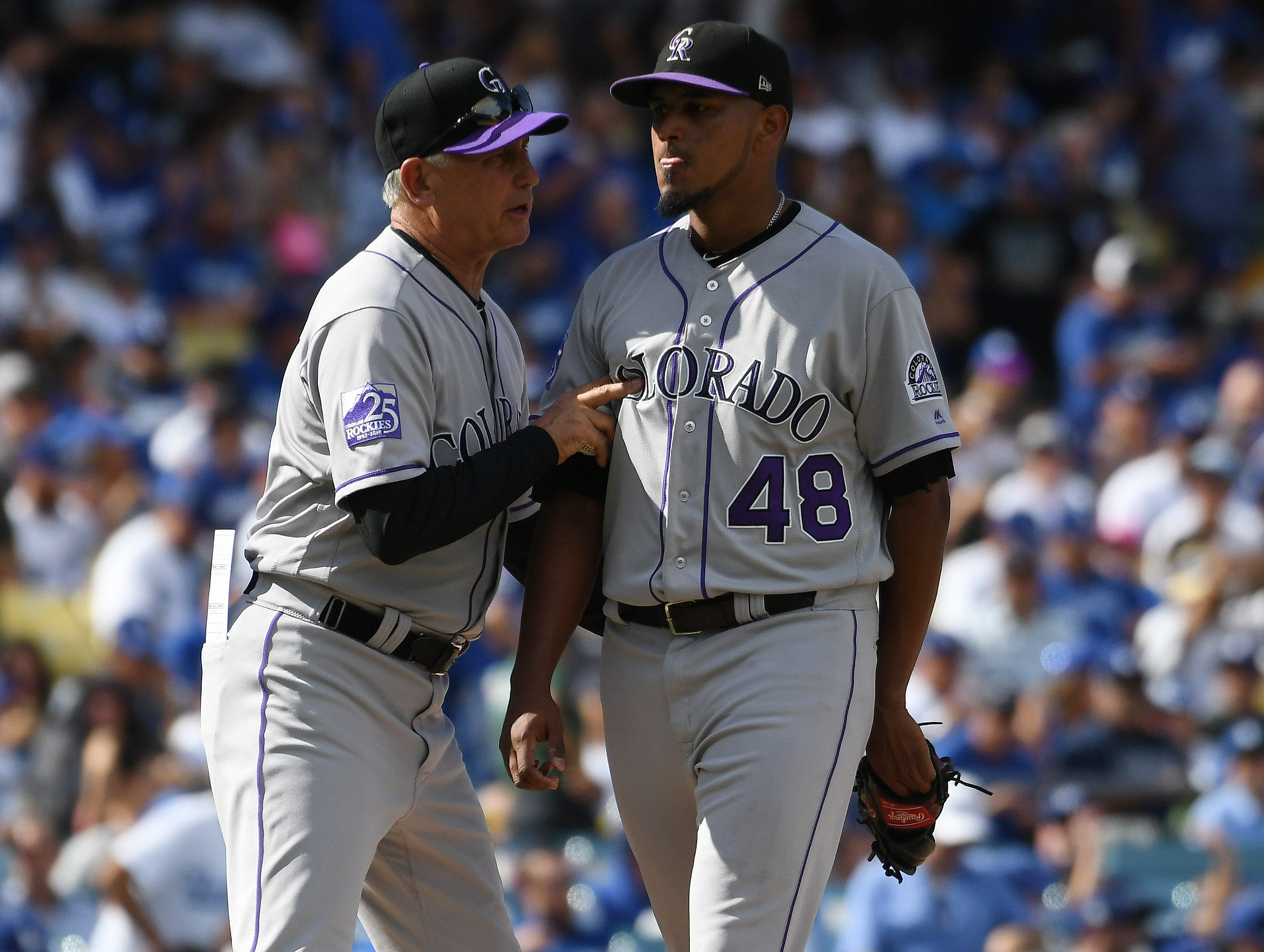 Rockies starter German Marquez reacts after being relieved by manager Bud Black in the fifth inning.