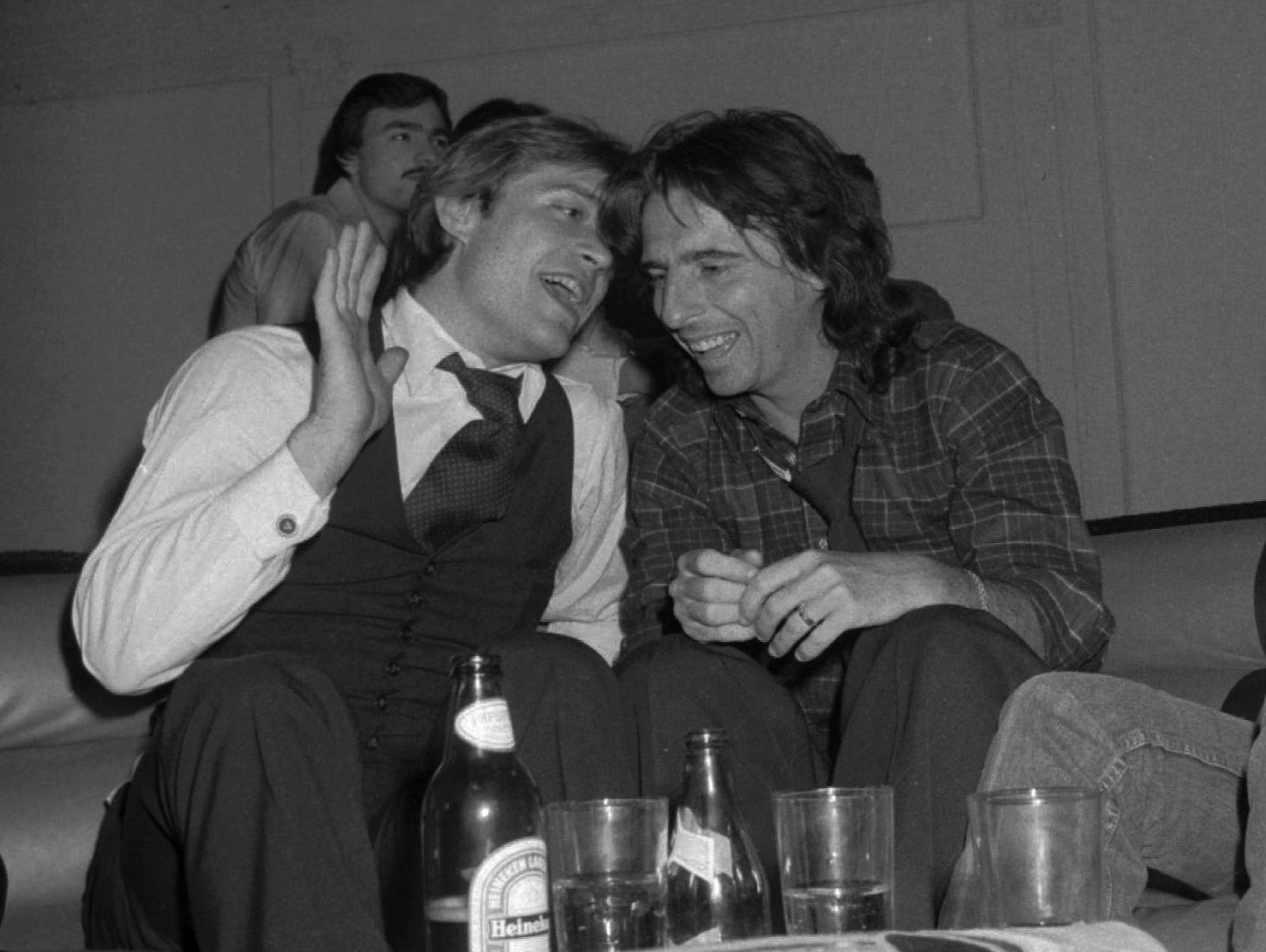 Jack Ford (left), son of former President Gerald Ford, talks with Alice Cooper at Studio 54 in 1978.