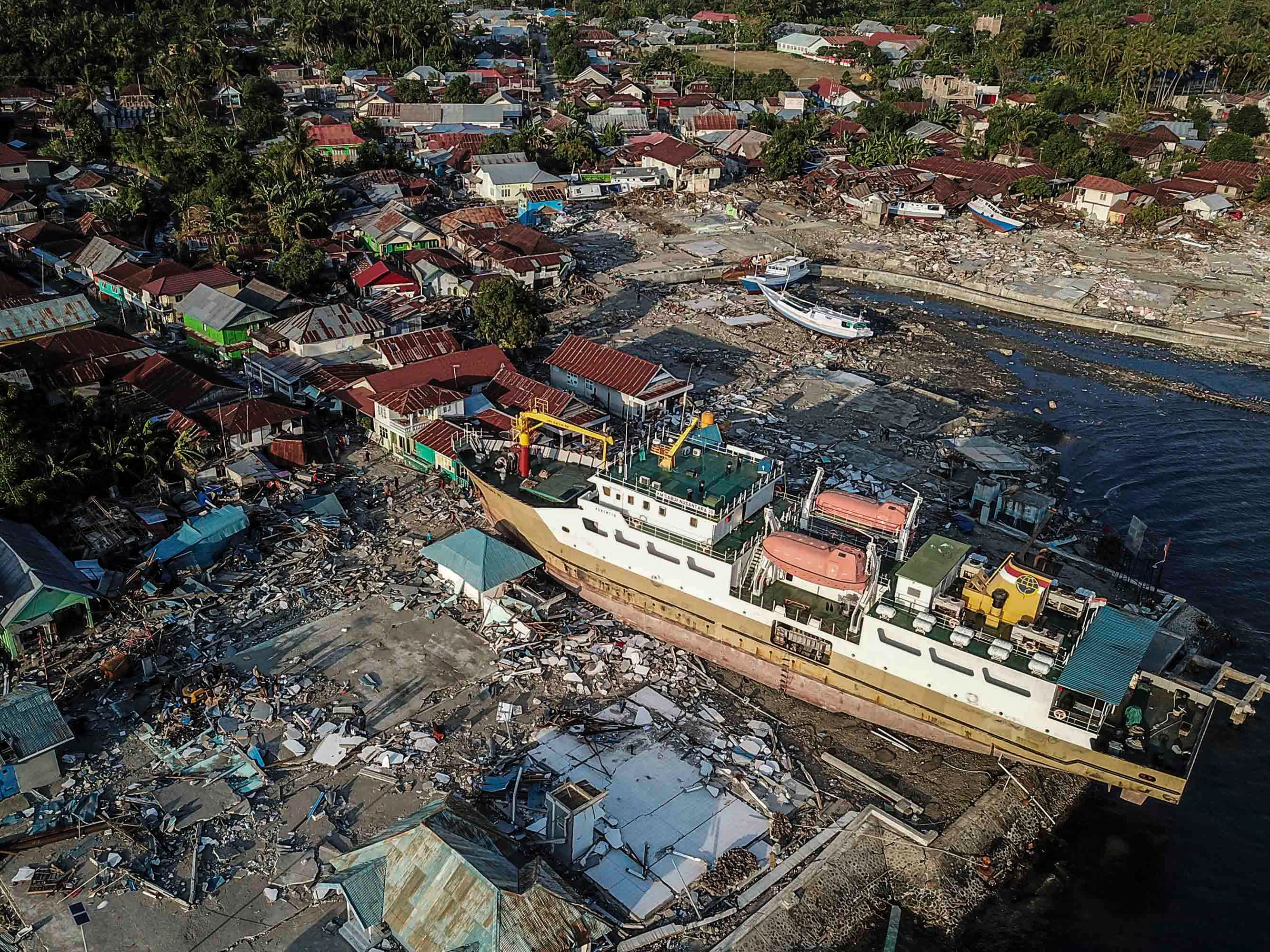 A picture taken with drone shows a ship stranded on the shore after tsunami hit the area in Wani, Donggala, Central Sulawesi, Indonesia, Oct. 1, 2018.