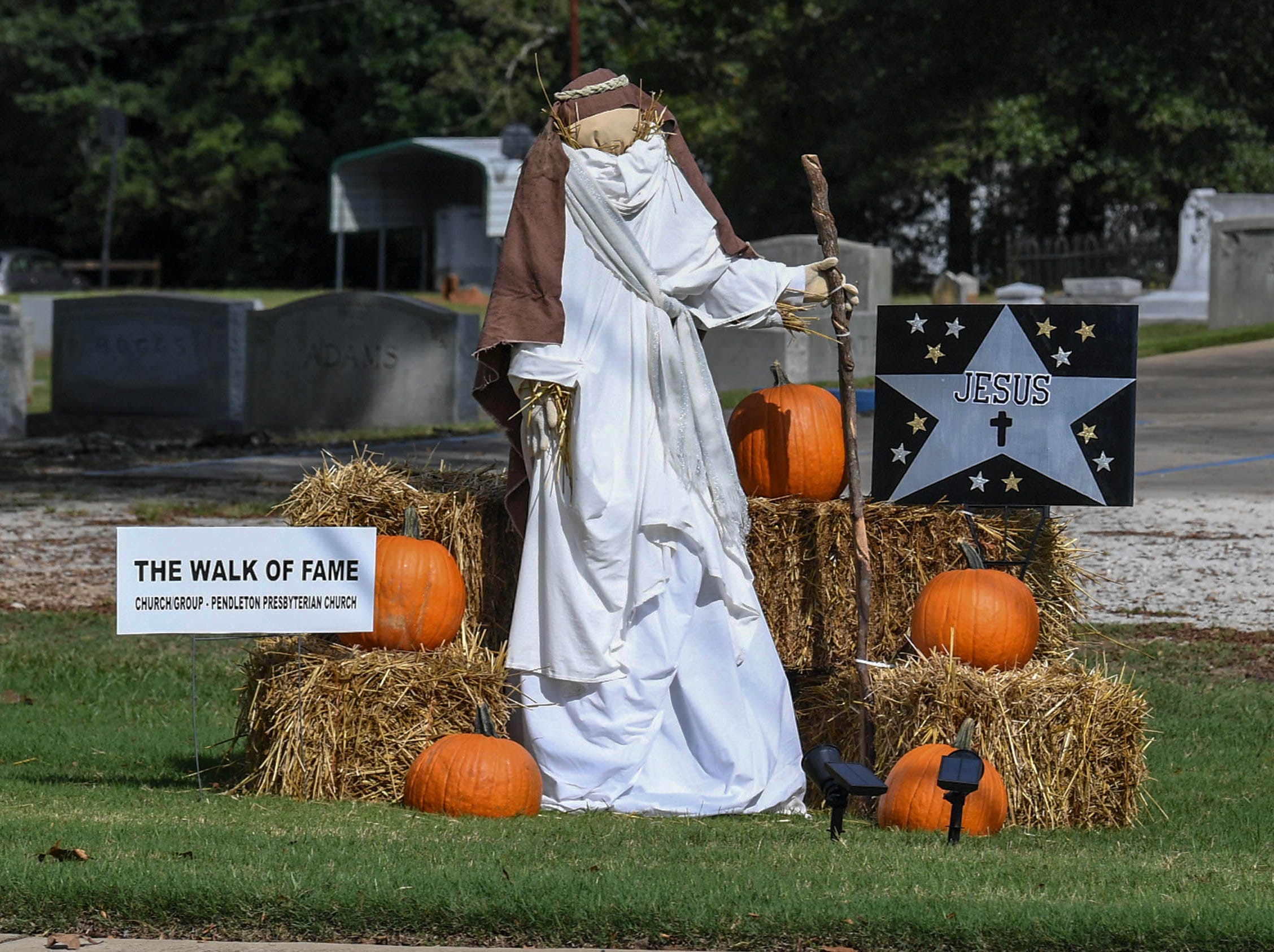 """""""The walk of fame"""" by Pendleton Presbyterian Church is one of many displays in The Pendleton Scarecrow Contest leading up to the 20th Fall Harvest Festival in the village green Saturday, October 6 from 10 a.m. to 5 p.m. The annual contest in Pendleton for businesses, individuals, groups, organizations and churches who create fun not scary Scarecrows. People driving around the downtown square can see different theme scarecrows."""