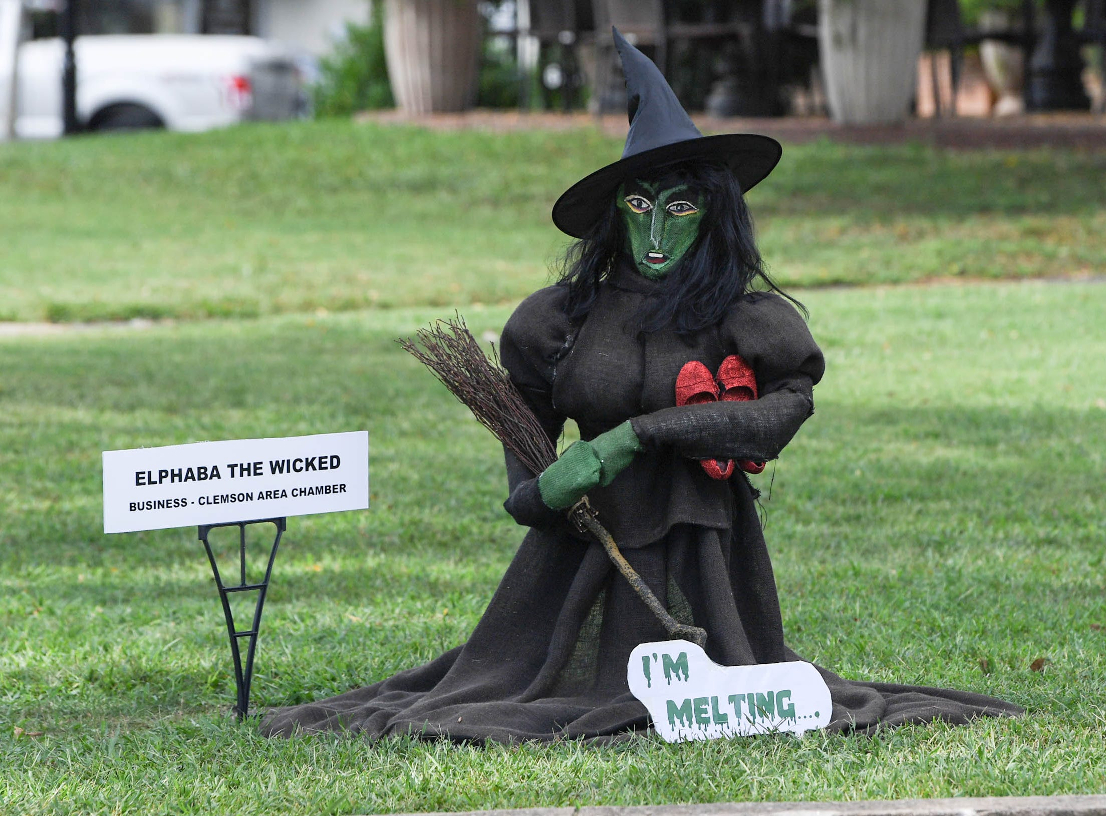 Elphaba the Wicked, a scarecrow made by the Clemson Area Chamber, is one of many in The Pendleton Scarecrow Contest leading up to the 20th Fall Harvest Festival in the village green on Saturday, October 6 from 10 a.m. to 5 p.m. The annual contest in Pendleton for businesses, individuals, groups, organizations and churches who create fun not scary Scarecrows. People driving around the downtown square can see different theme scarecrows.