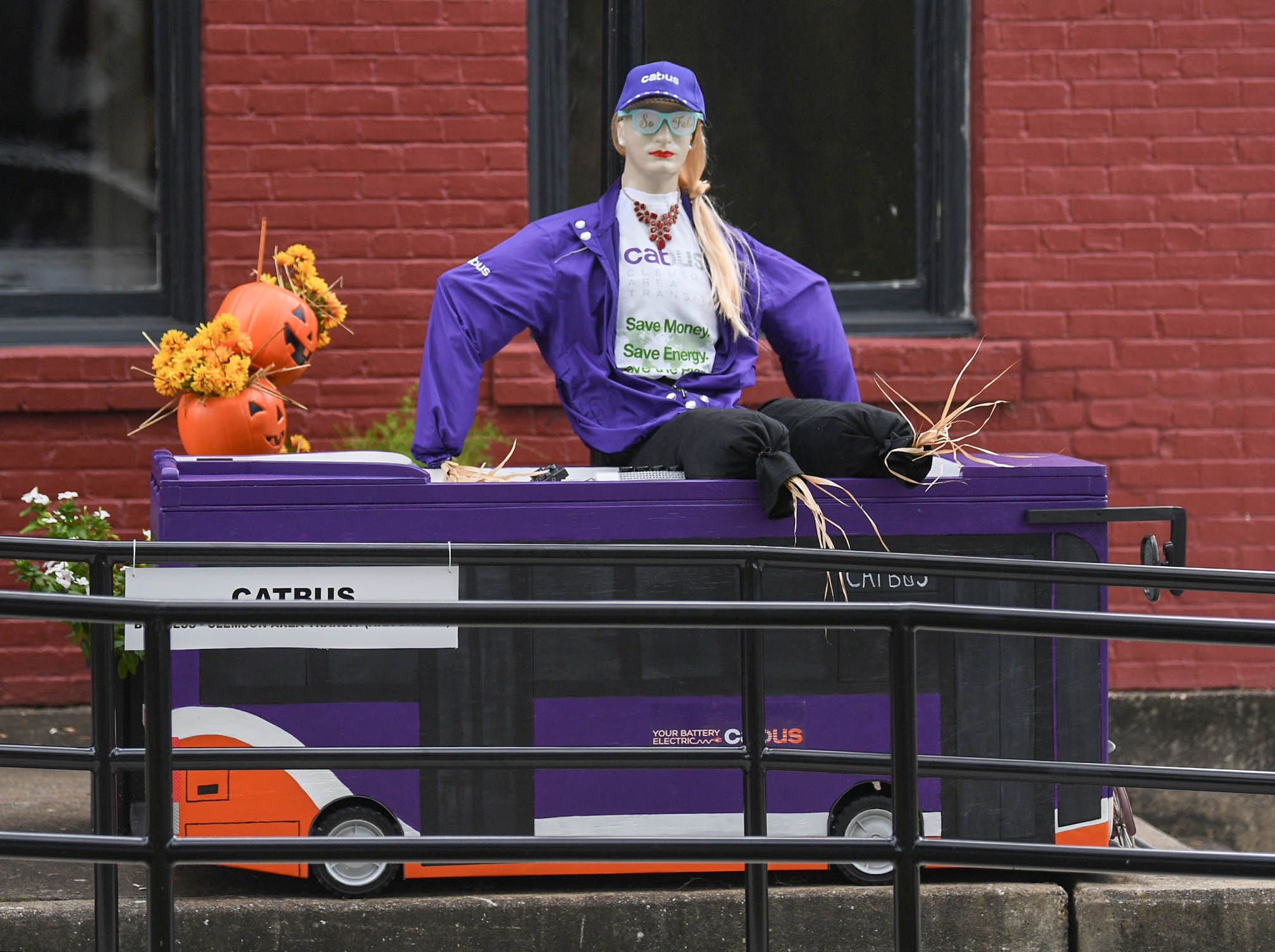 A scarecrow sitting on a model of a CATBUS is one of many displays in The Pendleton Scarecrow Contest leading up to the 20th Fall Harvest Festival in the village green Saturday, October 6 from 10 a.m. to 5 p.m. The annual contest in Pendleton for businesses, individuals, groups, organizations and churches who create fun not scary Scarecrows. People driving around the downtown square can see different theme scarecrows.
