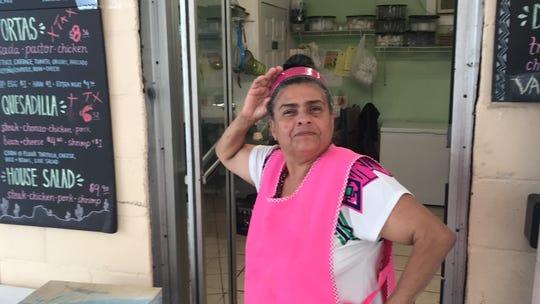 Maria Carackury, outside her food truck, Street Tacos.
