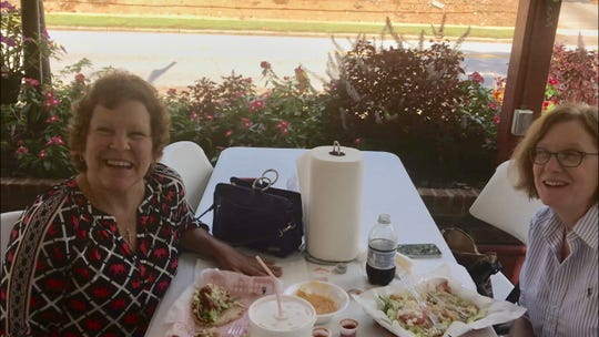 Jennifer Cole, left, and Pam Winters, enjoying lunch at Street Tacos in Easley