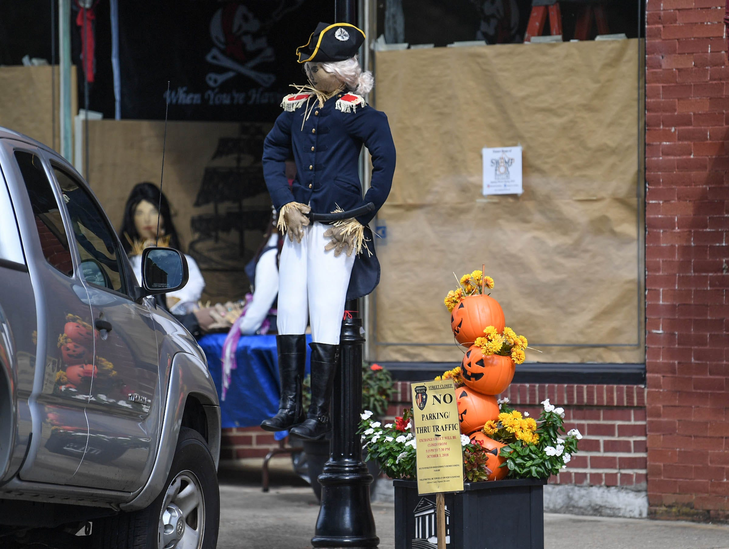 A scarecrow made for The Pendleton Scarecrow Contest leading up to the 20th Fall Harvest Festival in the village green Saturday, October 6 from 10 a.m. to 5 p.m. The annual contest in Pendleton for businesses, individuals, groups, organizations and churches who create fun not scary Scarecrows. People driving around the downtown square can see different theme scarecrows.