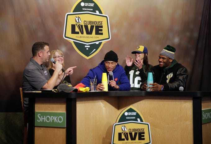 Clubhouse Live co-hosts Brett Christopherson, Ricardo Arguello, Margaret Naczek and Green Bay Packers safety Josh Jones welcome rookie wide receiver Marquez Valdes-Scantling Monday, October 1, 2018, at the Red Lion Hotel Paper Valley in Appleton, Wis.