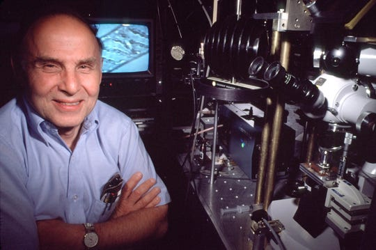 In this 1988 image provided by Nokia Bell Labs shows Arthur Ashkin at the lab in Holmdel, N.J. American Arthur Ashkin, Canadian Donna Strickland, and French scientist Gerard Mourou won the 2018 Nobel Prize in Physics announced Tuesday, Oct. 2, 2018, for work in laser physics. Ashkin, entered the record books of the Nobel Prizes by becoming the oldest laureate at age 96. (Nokia Bell Labs via AP)