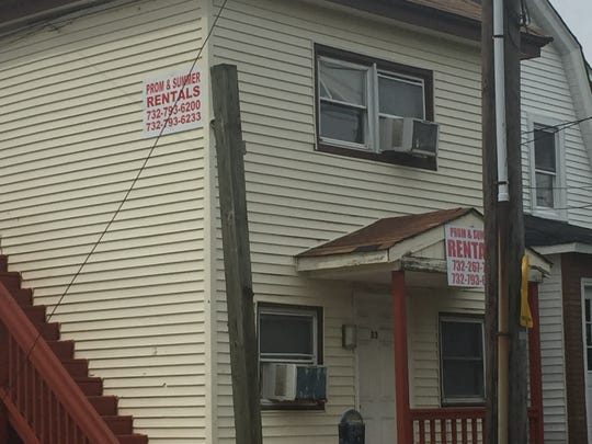 A sign advertises prom and summer rentals in Seaside Heights earlier this year