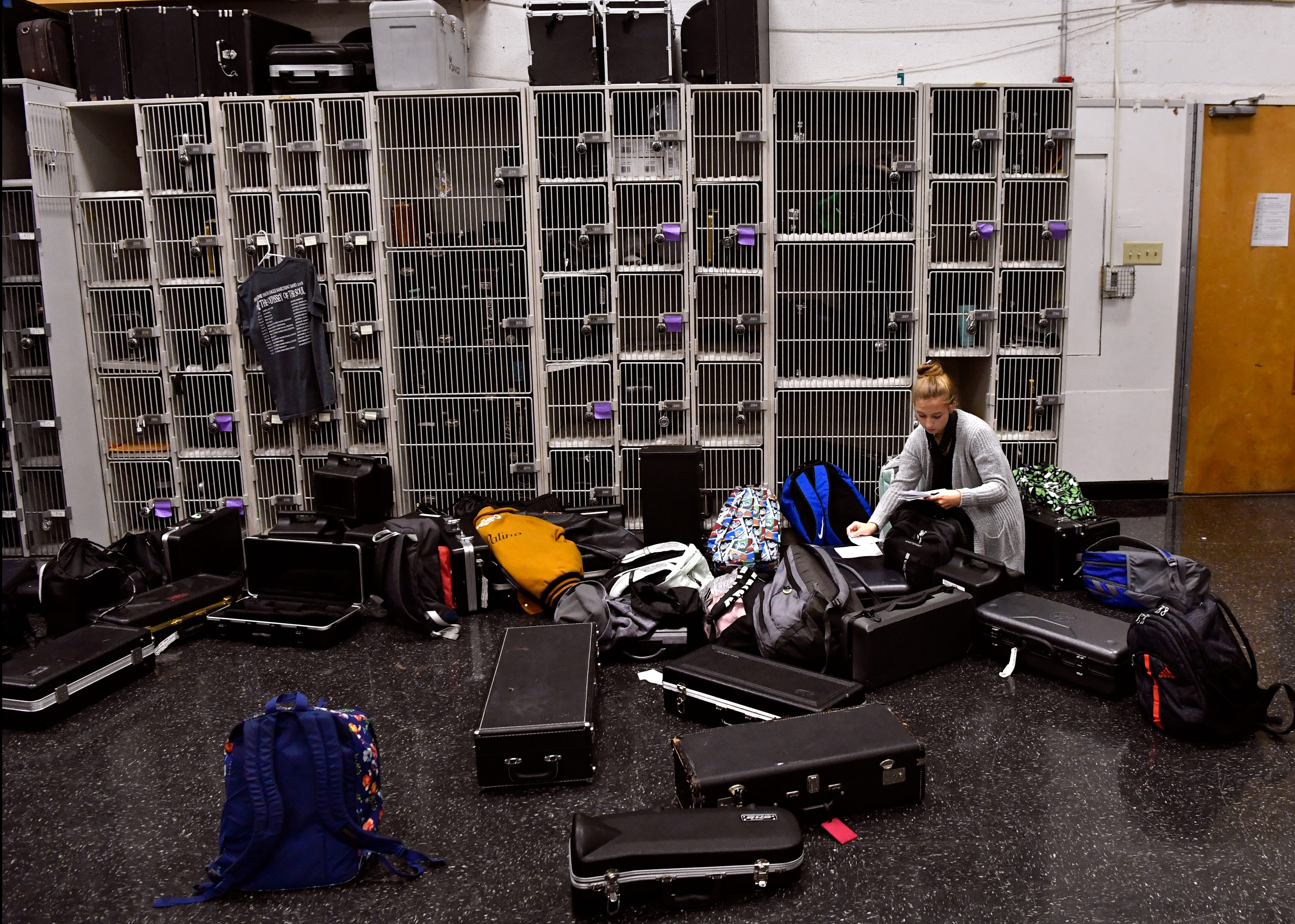 Alexis Wood, a sophomore member of the Eagle Band, goes through some note cards in the Abilene High School band hall. Storage space has become a problem in the band hall as the number of students has increased over the years.