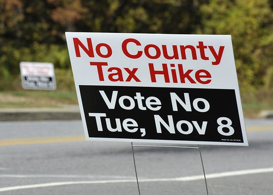 Signs against a sales tax increase line Bleachery Boulevard in front of the Buncombe County Republican headquarters building on Oct. 24, 2011. The proposed quarter-cent sales tax was controversial, causing the creation of political action committees and noteworthy endorsements. It passed with a less than 500-vote margin.