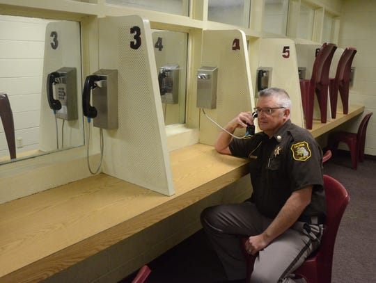 Calhoun County Sheriff Department Chief Deputy Randy Hazel at one of the visitation booths no longer regularly used.
