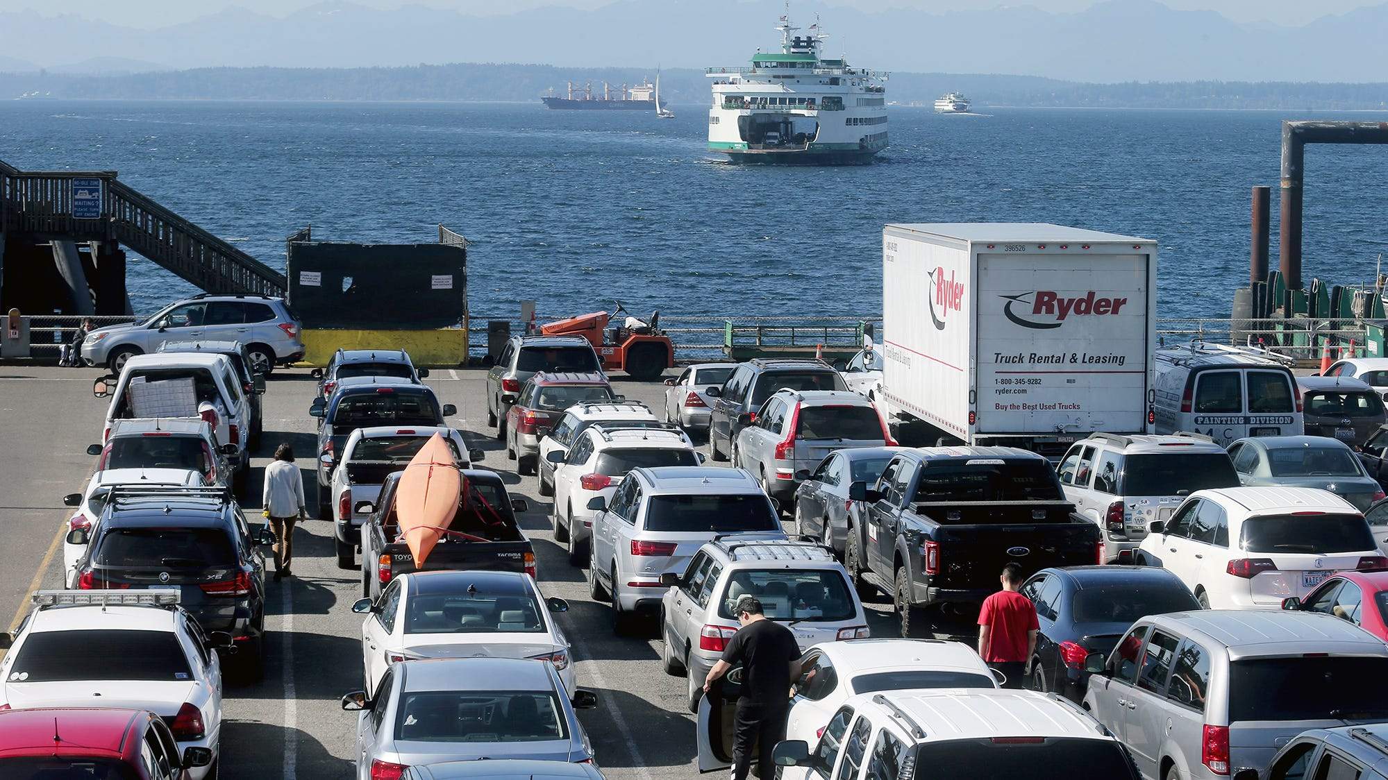 The Bainbridge car wait lot on Tuesday, September 25, 2018. Loading areas for Bremerton and Bainbridge ferries at Colman Dock in Seattle will swap this week as part of the construction.