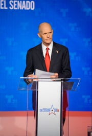 Gov. Rick Scott at the first Senate debate in Miramar, FL on Tuesday.