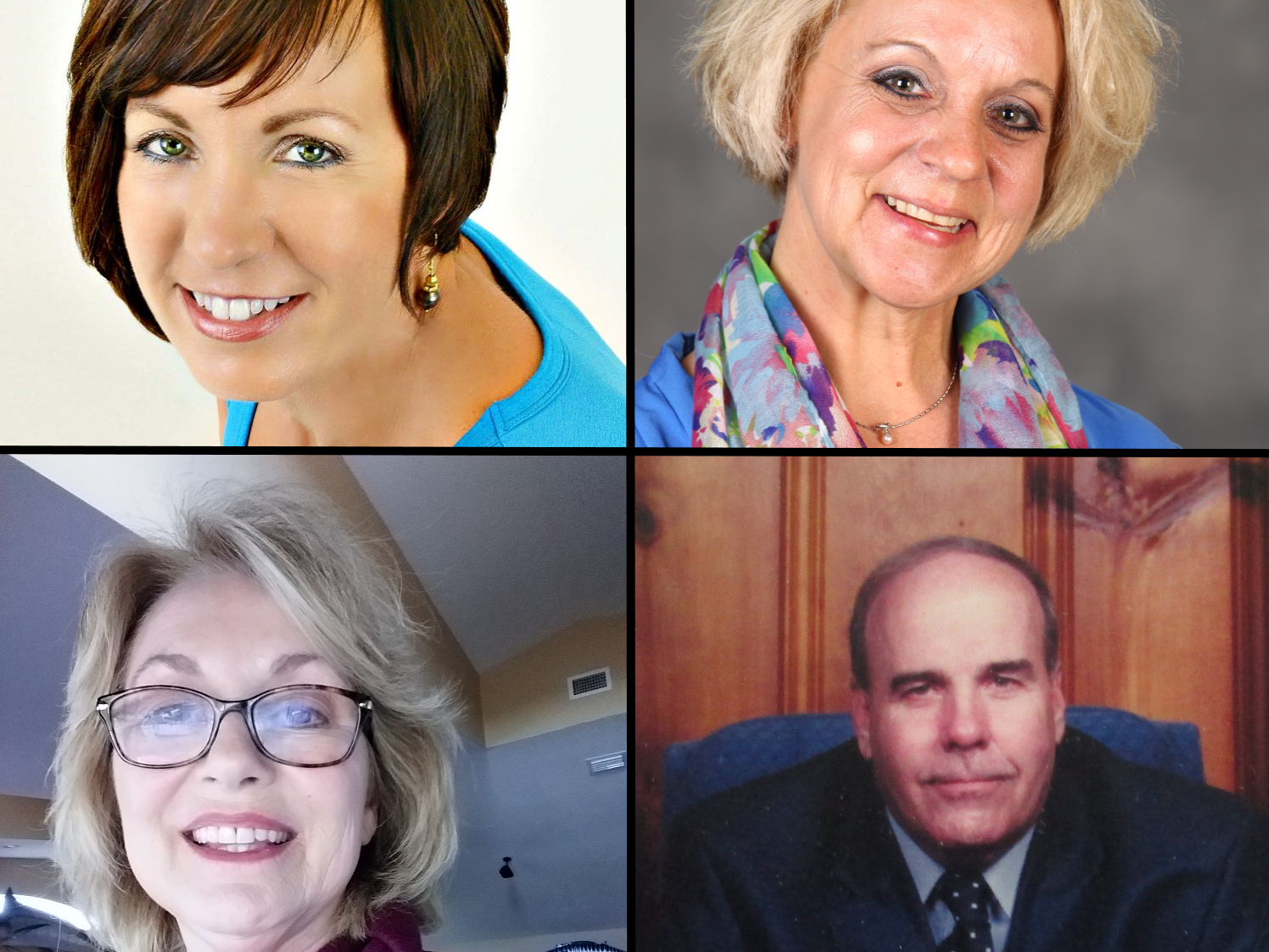Candidates for Melbourne Beach Commissioner at large (3 year term), 2018 elections; Clockwise from upper left: Joyce Barton; Libby Brown-Brock; Steve Walters (incumbent); Sherri Quarrie (incumbent).