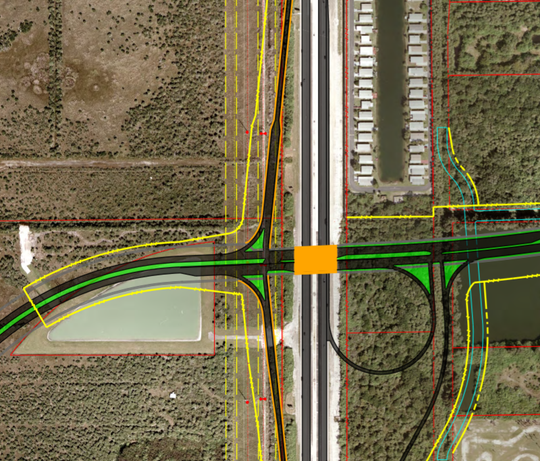 This artist's rendering depicts the Interstate 95 interchange at Ellis Road (the green east-west roadway). Lamplighter Village and a conservation easement abut the interchange to the north.