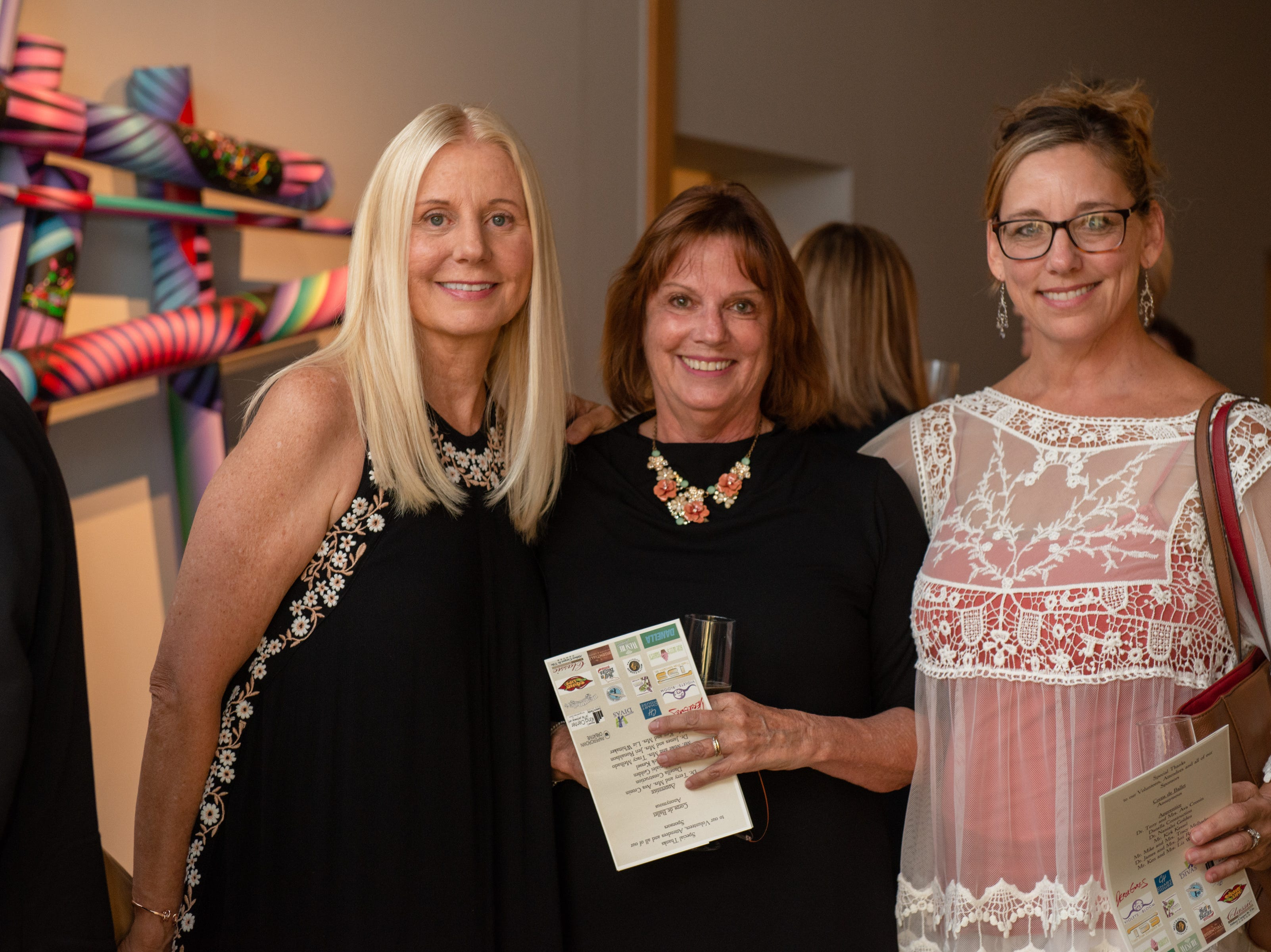 "Loretta Grella Sorbello, Jody Schur and Lori Gust during an ""Evening of Arts"" at the Foosaner Art Museum."