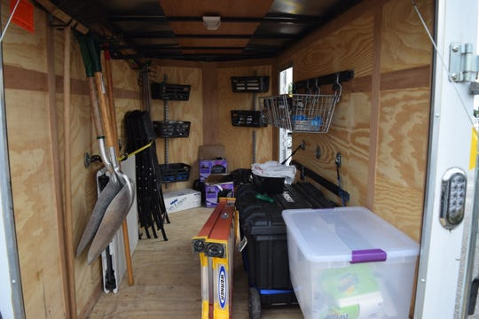 The inside of the Community Cleanup Trailer is stocked with shovels, gloves, trash bags and safety gear to clean up the neighborhood.