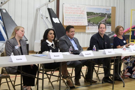 Kaylynn Paxson, Paulette Guajardo, Rudy Garza Jr., Michael Hunter and Brandey Batey participate in the Island United PAC Candidate Forum in September 2018. They are running for Corpus Christi City Council at-large.