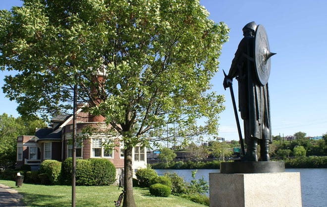 The 7-foot-4 bronze statue of Viking Thorfinn Karlsefni along Philadelphia's Boathouse Row was toppled by vandals early Tuesday.