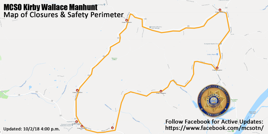 Safety perimeter as of Tuesday in the manhunt for Kirby Wallace.